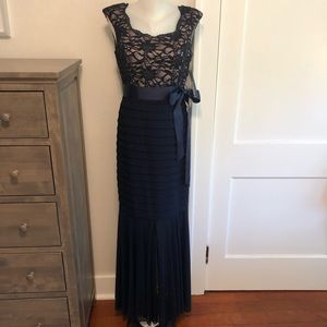 Navy Blue Full Length Chiffon Lace Gown